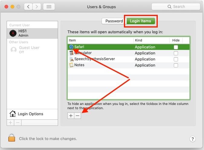 Remove Mac Startup Programs on MacBook Pro Air