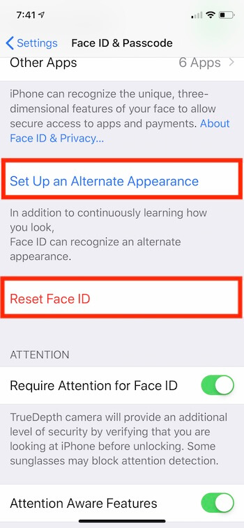 2 Face ID Reset Settings