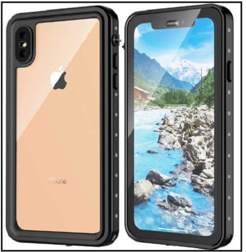 Richu iPhone XS Max case, IP68 Waterproof case Full-Body Rugged Clear Bumper Case with Built-in Screen Protector