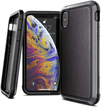 X-Doria Black Leather Case for iPhone XS