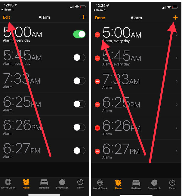 1 Delete and Add new alarm in Clock app on iPhone