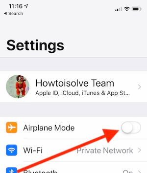 2 Turn on Airplane mode on iPhone XS max