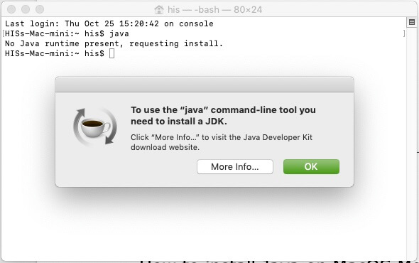 Check Java in installed or not on Mac Mojave
