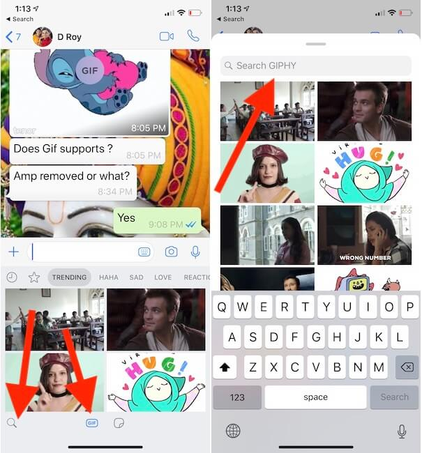 Download and Send Gifs from WhatsApp iPhone and iPad