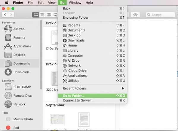 Go to Folder option in Finder menu on Mac