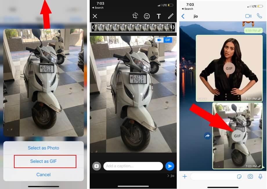 Send live Photo as a GIF on WhatsApp iPhone app