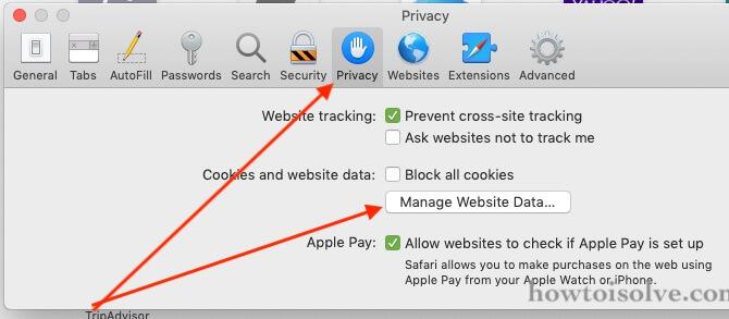 clear safari cache and data on Mac