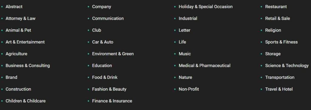 Popular Categories for Create logo from DesignEvo