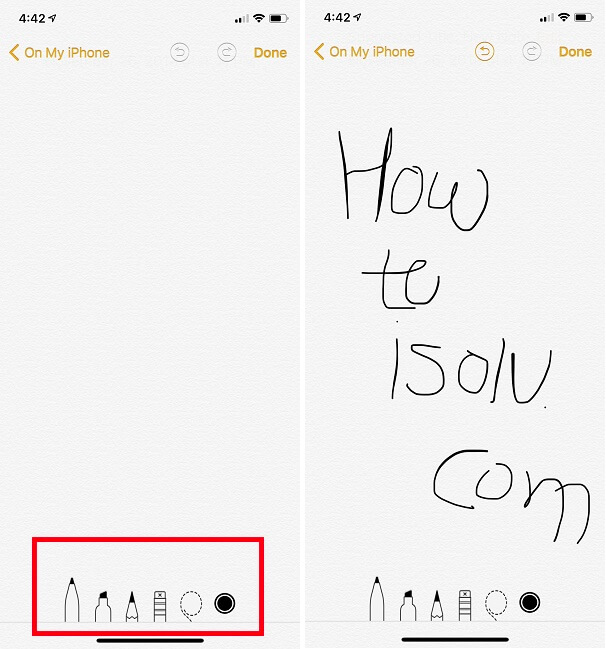Use Drowing on Markup for Notes app