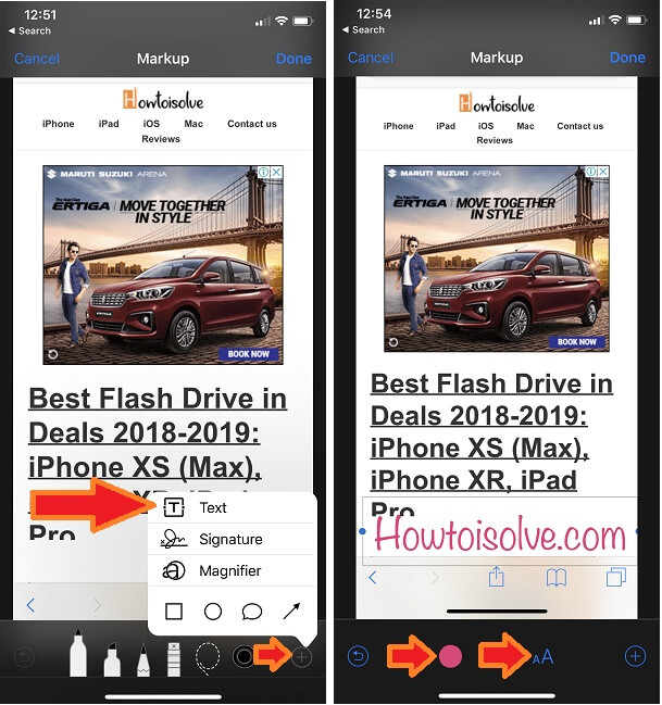 Change Text Size and add Color on Text for Markup Photo on iPhone and iPad