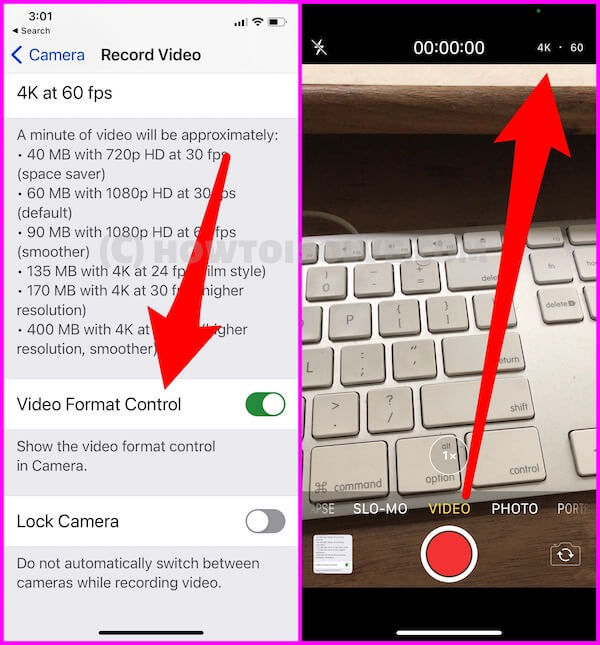 Change Video Camera Resolution from Camera by Single Tap
