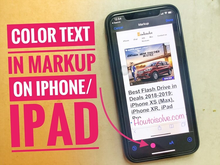 How to use Markup tool for Edit Photo for Coloured Text