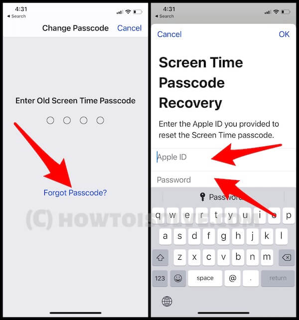 Screen Time Passcode Recover options on iPhone