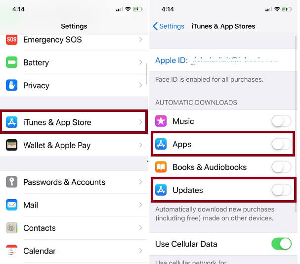 Stop auto update Snapchat app on iPhone
