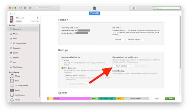 Turn on iPhone Backup in iCloud