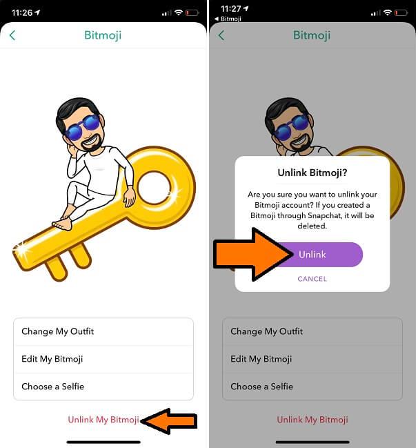 Unlink Bitmoji from Snapchat iPhone and iPad