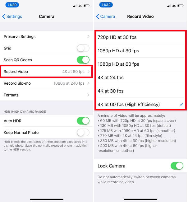 Video Resolution on iPhone XS Max or iPhone XR