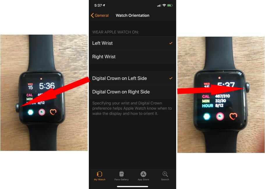 Apple Watch Orientation settings on iPhone watch app