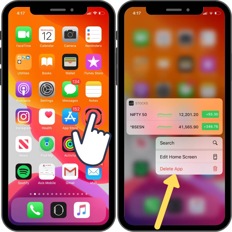 Delete app on iPhone and iPad from home screen