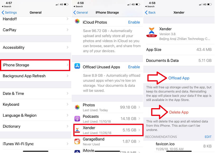 Delete app or Offload app on iPhone and ipad
