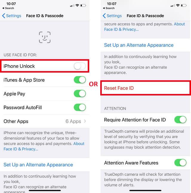 Disable Auto iPhone Unlock and Reset Face ID on iPhone XS Max iPhone XS or iPhone XR