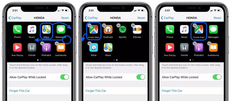 Move apps on CarPlay Screen from iPhone