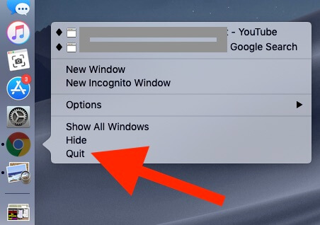 Quite Google Chrome App on Mac from Background