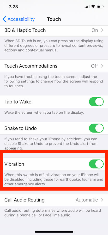 Turn on All Vibrations on iPhone