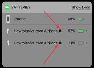 check left airpod battery charged or not