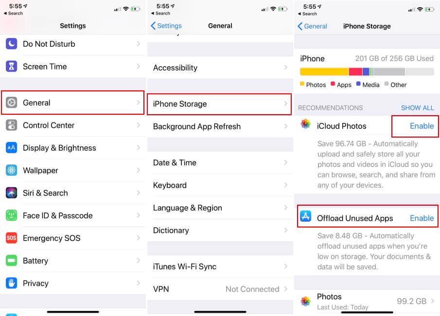 offload Unused apps on iPhone for install Apps Update and iOS Update on iPhone XS Max XS and XR