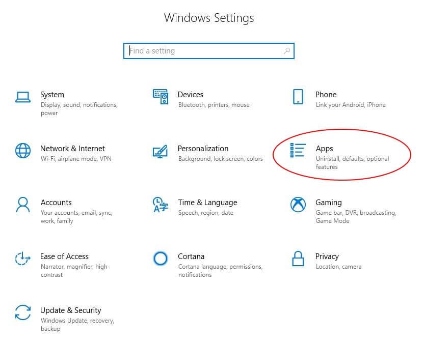Windows Settings option on Laptop or Desktop