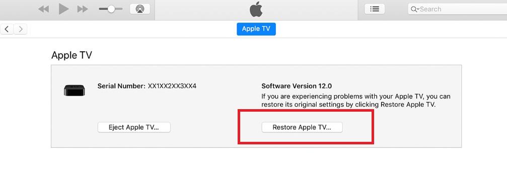 Apple TV Black Screen Issue solve Restore Apple TV on iTUnes pc or mac