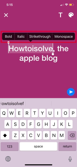 Bold italic and stickthrough font style in Whatsapp status on iPhone and ipad