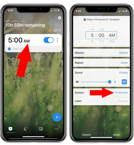 Change Snooze Time on iPhone using Alarmy App