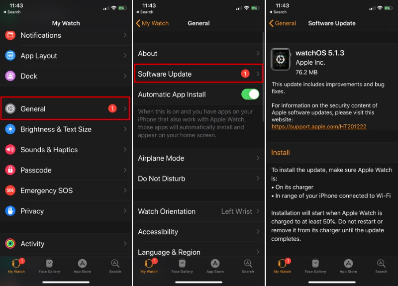 Check for Software Update on Apple Watch