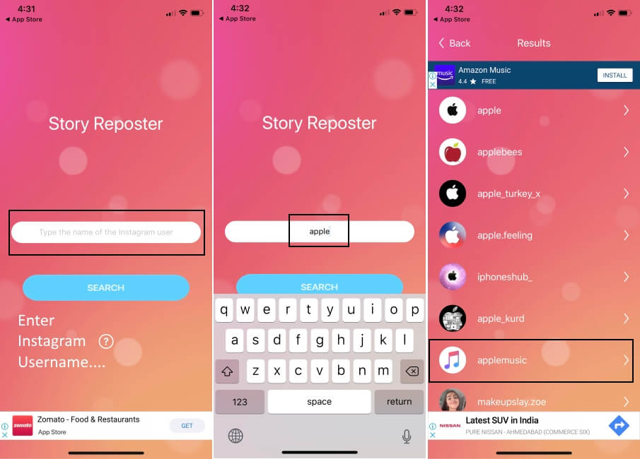 Search Insta Story with instagram user name on iPhone