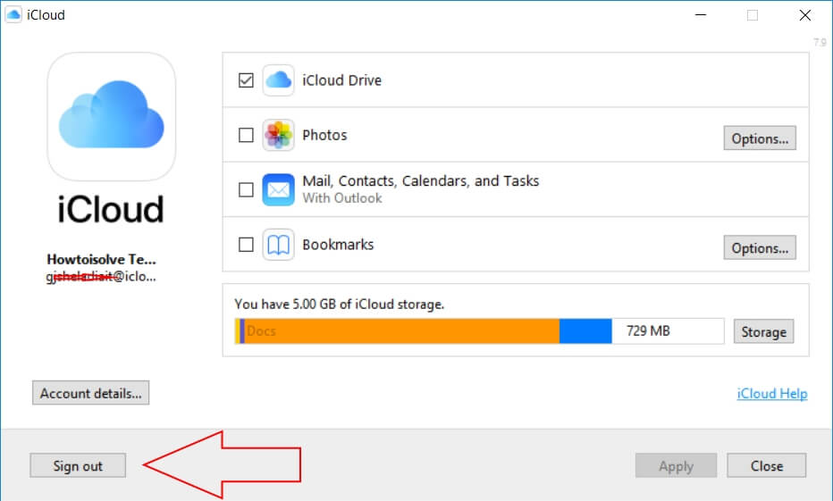 Sign out icloud on windows