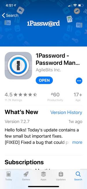 1password manager app