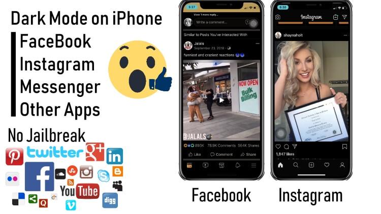 Dark mode on iPhone for Facebook instagram social app