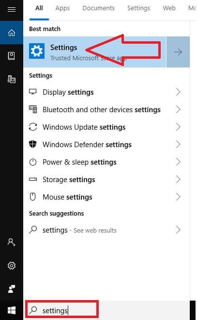 Settings from Windows Start Menu