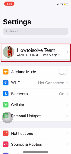 Tap on Profile name on iPhone