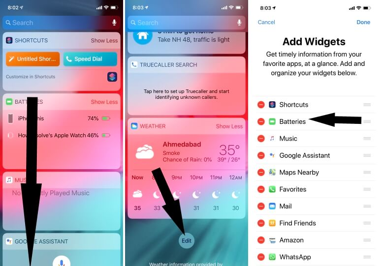 Add Battery Widget on iPhone to Check paired Bluetooth Device Battery