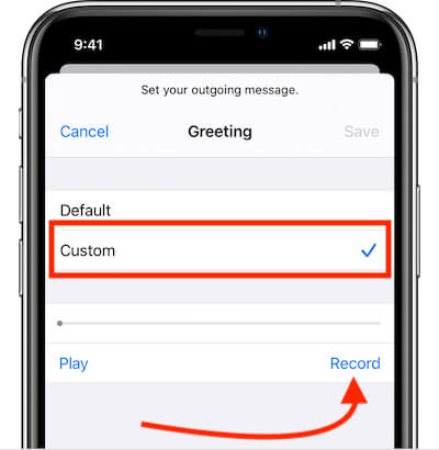 Change Custom Greeting Message Voicemail iPhone