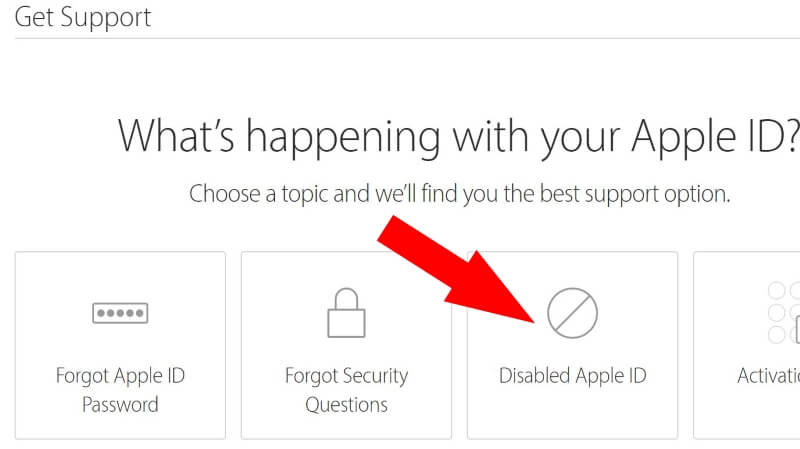 Disabled Apple ID troubleshooting