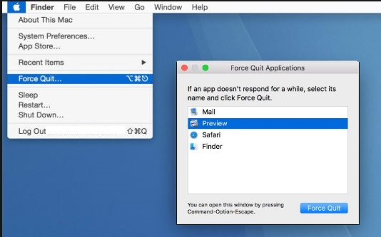Force Quite app for Fix Grey Border on Mac