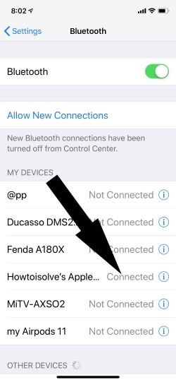 Paired Bluetooth Headphone on iPhone
