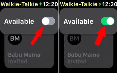 Enable Walkie Talkie for Apple Watch from Watch