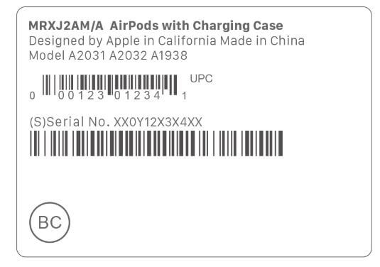 Serial Number on Airpods Bill and Box
