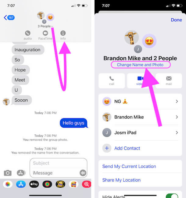 Change Group name and Photo on iPhone Messages app