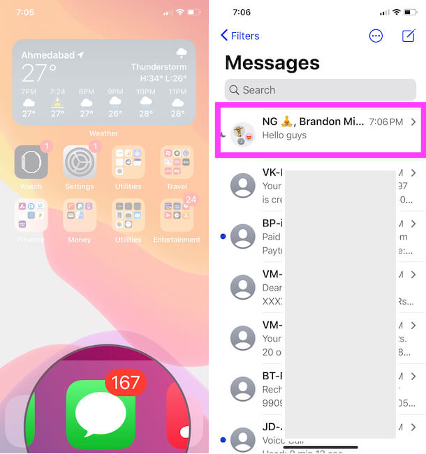Group iMessage on Messages app on iphone